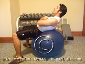 Exercise Ball Crunch Ending Position