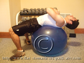 Exercise Ball Crunch Starting Position